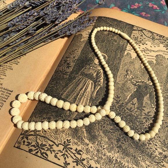Jewelry Vintage Carved Bone Graduated Bead Necklace Poshmark